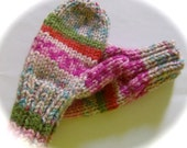 Mittens, Child's, Hand Knit, Pink Multi Print, 1 to 2 years
