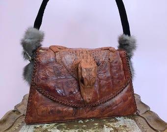1940s purse alligator purse taxidermy purse vintage purse upcycled purse 1940s handbag animal purse