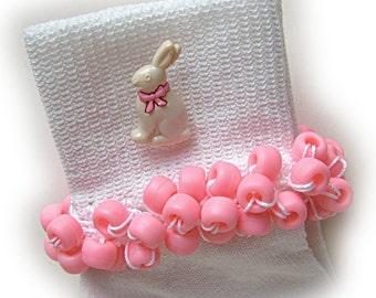 Kathy's Beaded Socks - Cream Bunny Beaded Socks, girls socks, school socks, pink socks, bunny socks, Easter socks, pony bead sock