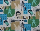 OOP ELVIS novelty fabric remnant blue green collage quilting VIP Cranston fabric