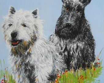 SCOTLAND vintage linen kitchen towel Clive Mayor fabric Double D Scottish Terriers