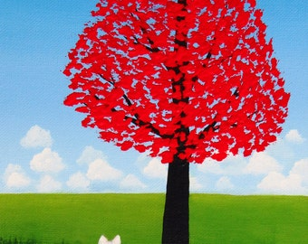 Chinese Crested Dog Folk Art print by Todd Young Red Maple Tree