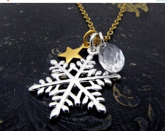 snowflake necklace, snow flake necklace, silver snowflake pendant, ice skating necklace, holiday necklace, Holiday jewelry, gift for her