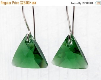 green crystal earrings, triangle earrings, Holiday earrings, gift for her, sterling silver, winter wedding jewelry, crystal earrings, silver
