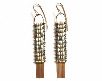 SALE Grey Jasper Ladder Earrings