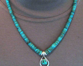 Turquoise mens pendant necklace, sterling silver pendant necklace, Southwestern style necklace, graduated turquoise necklace