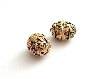 Antique Gold Vermeil Bali Beads 12mm by 10mm by 8mm