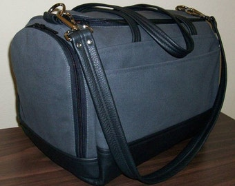 Under Seat Bag - Gray Canvas/Black Leather