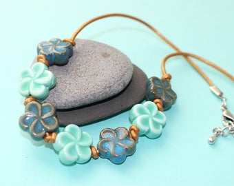 Ceramic Flower and Leather Cork Necklace