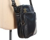 Vintage Adidas Crossbody Bag 80s Trefoil Logo Black Vinyl  Messenger Bag Shoulder Bag Vintage Vegan Traveler Medium Small Size Zipper Bag