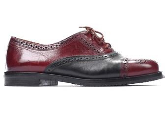 size 7 Retro Brogue Shoes Women's Oxfords 80s Red Black Leather Lace Up Manly Two Tone Cap Toe European Shoe Us women 7, UK 4.5 Eur 37.5