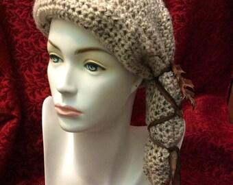 Sandy Oak Cloche Crocheted Slouch Hat... knit yarn tied soft scarf cap bohemian boho