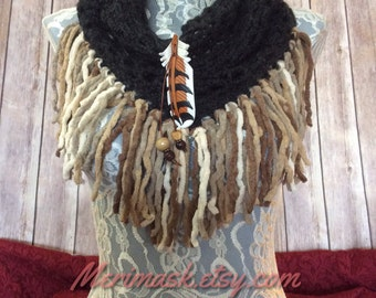 Charcoal Hawk cowl... knit crocheted fringed yarn soft scarf leather tie bohemian boho