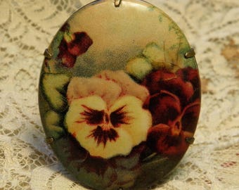 Vintage Celluloid Pin Brooch Pansy Flowers