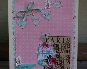 Springtime Paris All Occasion Handcrafted Card