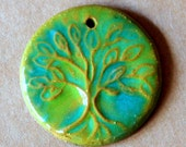 Extra large Tree of Life pendant in Green over rustic stoneware