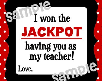 Instant Download. Won the jackpot. Jackpot Tag. Candy Tag. Printabe Tag. Teacher Appreciation. End of school year. Teacher gift