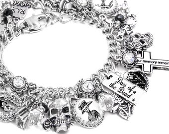 Dia de los Muertos Jewelry - Day of the Dead Bracelet - Charm Bracelet - Dancing Skeleton - Sugar Skulls