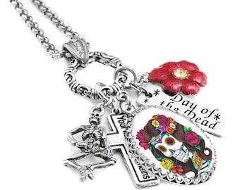 Day of the Dead Necklace - Dia de los Muertos Necklace - Day of the Dead Pendant - Sugar Skull Necklace