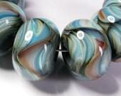 Lampwork Beads, Lampwork Glass Beads, BBGLASSART - Lampwork Boro Beads, Serenity Blue Prisms