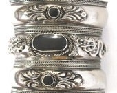 Vintage Silver-Plated Cuff Bracelet Three Onyx Stones & Two Dragons Design Adjustable 1980s Boho Chic