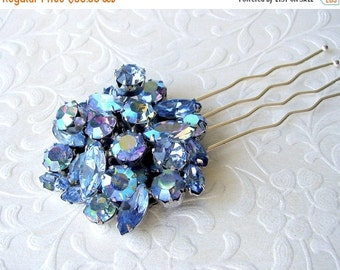 20% SALE Blue Rhinestone Jeweled Hairpiece Vintage Jewelry Hair Comb Aurora Borealis Headpiece Wedding Formal Bridal Pageant Ballroom Recycl