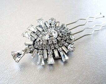 Gorgeous Vintage Jewelry Hair Comb Keystone Rhinestone Jeweled Hairpiece Something Old 20s Boho Chic Bride Wedding Bridal Formal Headpiece