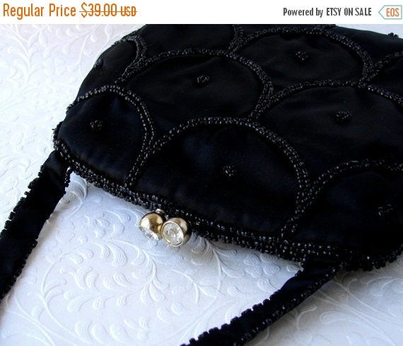 20% SALE Beautiful Delill Vintage Black Satin Beaded Purse Rhinestone Clasp Jet Glass Bead Handbag Hand Made Formal Handbag Evening Bag Prom
