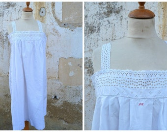 Vintage Antique old French 1900 Edwardian white cotton dress underdress  nightgown size S/M/L