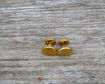 Vintage Antique 1900/1920 old French golden metal round  cuff links / set of 2