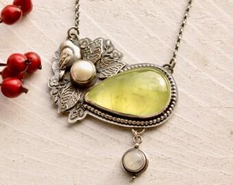 SOLD! - Final Deposit Listing- - - - - - Prehnite Necklace, Botanical Necklace, Statement Jewelry, Silver Bird Jewelry