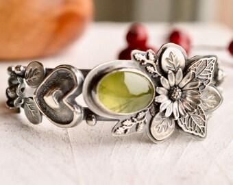 Silver Statement Cuff Bracelet, Prehnite Cuff, Detailed Botanical Cuff Bracelet, Ornate Silver Bracelet, Hand Stamped Cuff, Artisan Jewelry