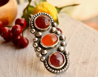 Silver Statement Ring, Pink Sapphire Ring, Carnelian Ring, Handcrafted Ring, Metalsmithed Jewelry, Studded Silver Ring, Modern Boho Ring