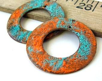 Blue and Orange Enamel Earring Hoop Charms