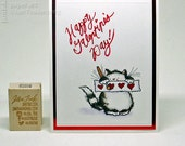 Cute Happy Galentines Day Cat Kitty Fancy Greeting Card Handmade in Red Black White for Friend Girlfriend for Galentines Day