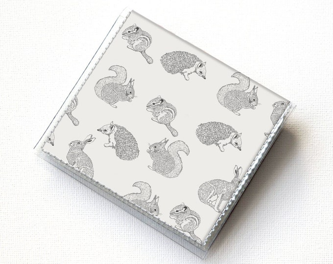Vinyl Moo Square Card Holder - Forest Friends / vinyl, snap, mini card case, moo case, small, square, woodland, forest, animal, rabbit