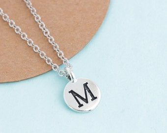 Silver Initial Necklace, Personalized Charm Necklace, Monogram Necklace, Birthday Gift, Gift For Woman, Monogram Pendant, Gift For Daughter