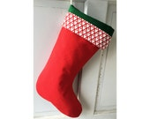 Festive Red Christmas Stocking with Tulip Print Cuff and Green Taffeta Lining - Heirloom Holiday Decor
