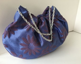 Floral Handbag with Silver Chain Handles - Brocade Handmade Hobo Purse - Ready to Ship