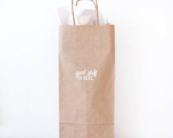 kraft paper wine gift bags - good stuff in here