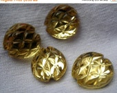 ON SALE 18% Off Vintage Jonquille Notched Glass Textured Cabochon West German 1950s 6 Pcs