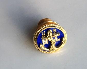 US Navy League Tie Tack, Men's Tie Tack, Nautical Tie Tack, Blue and Gold Tie Tack, Anchor Tie Tack, US NL
