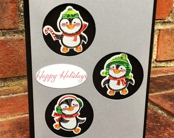 OOAK Handmade Happy Holidays Penguins Card w/ Envelope