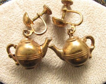 Vintage teapot earrings