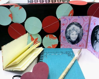 ON SALE! Stationary Set, notebook, pencil, heart key-chain, address-book, garland, card, Picture-frame