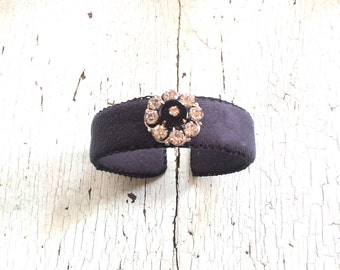 Black Adjustable Cuff with Rhinestone Bauble
