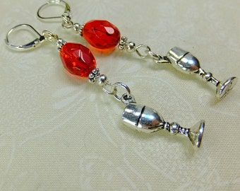 Silver Plated Pewter Wine Glass Charms and Blood Red Crystal Beads Dangle Earrings with Leverback Earwires