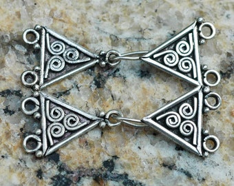 Sterling Silver 2 Strand Hook and Eye Clasp ~ Set of 2