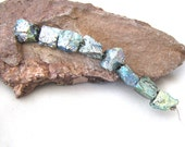 Gorgeous Green Blue Iridescent Titanium Coated Pyrite Rough Nugget Beads with Bright Metallic Finish - set of 8