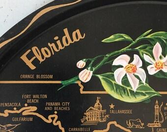 Vintage Florida serving tray map of Florida illustrations miami ft lauderdale ft meyers st petersburg orlando water skiing palm beach orange